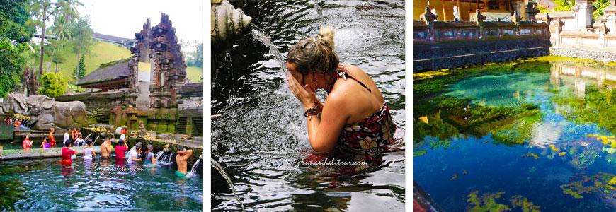ティルタエンプル寺院で沐浴をする人々と聖なる泉