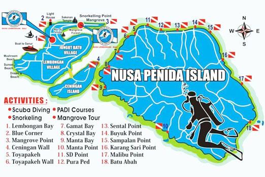 レンボンガン島ペニダ島シュノーケリングポイントのマップ