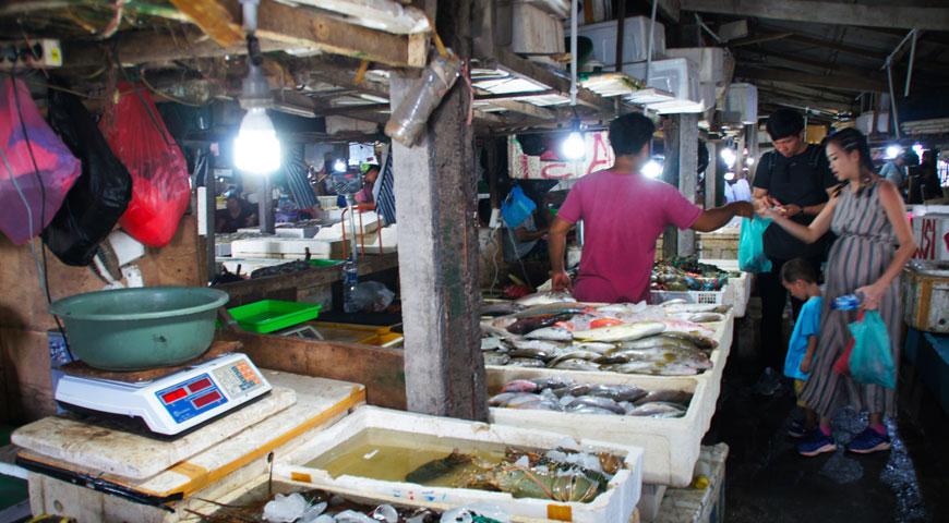 沢山の魚と買い物をする家族