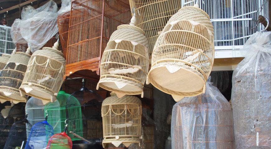 可愛い木組みされた鳥かご